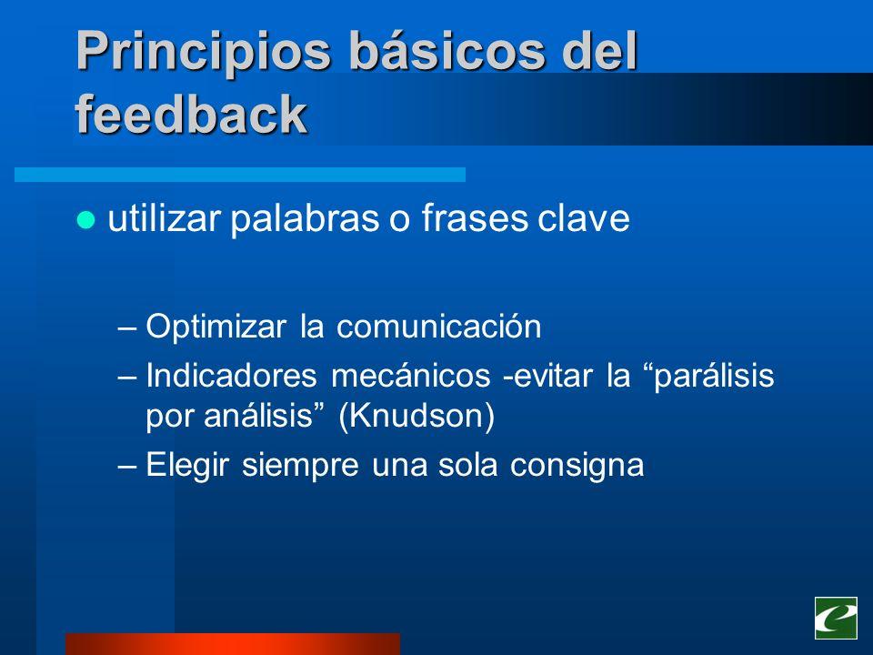 Principios básicos del feedback utilizar palabras o frases clave –Optimizar la comunicación –Indicadores mecánicos -evitar la parálisis por análisis (