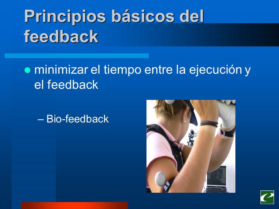 Principios básicos del feedback minimizar el tiempo entre la ejecución y el feedback –Bio-feedback