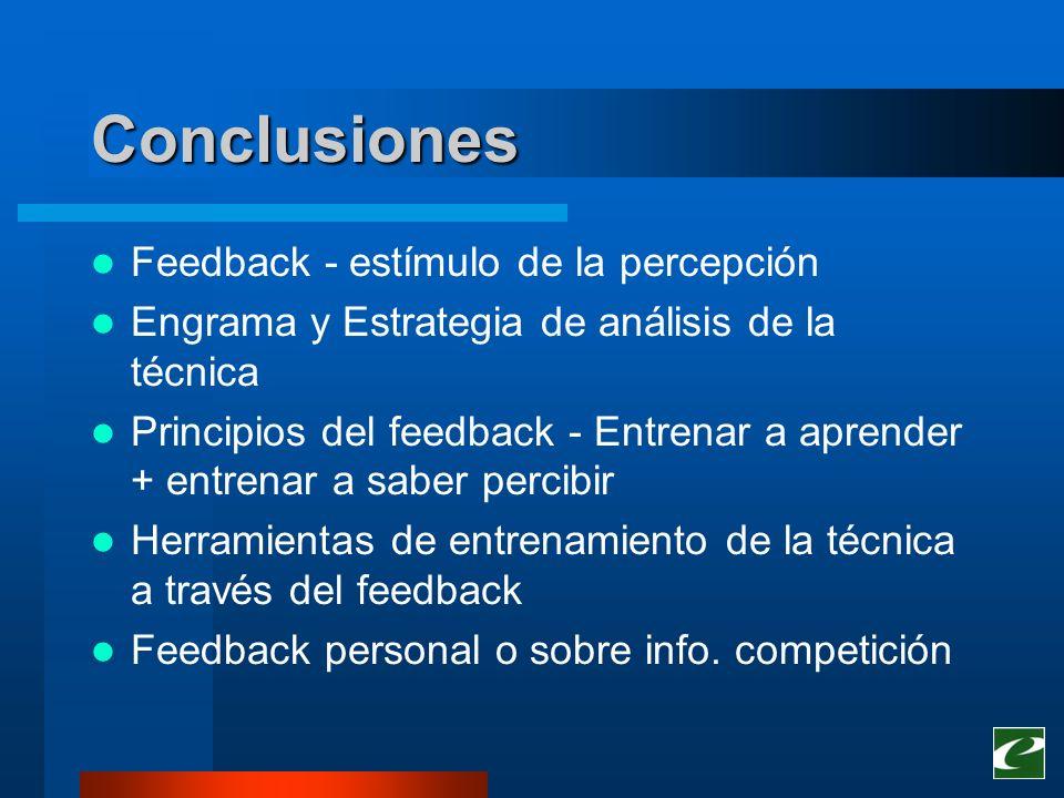 Conclusiones Feedback - estímulo de la percepción Engrama y Estrategia de análisis de la técnica Principios del feedback - Entrenar a aprender + entre