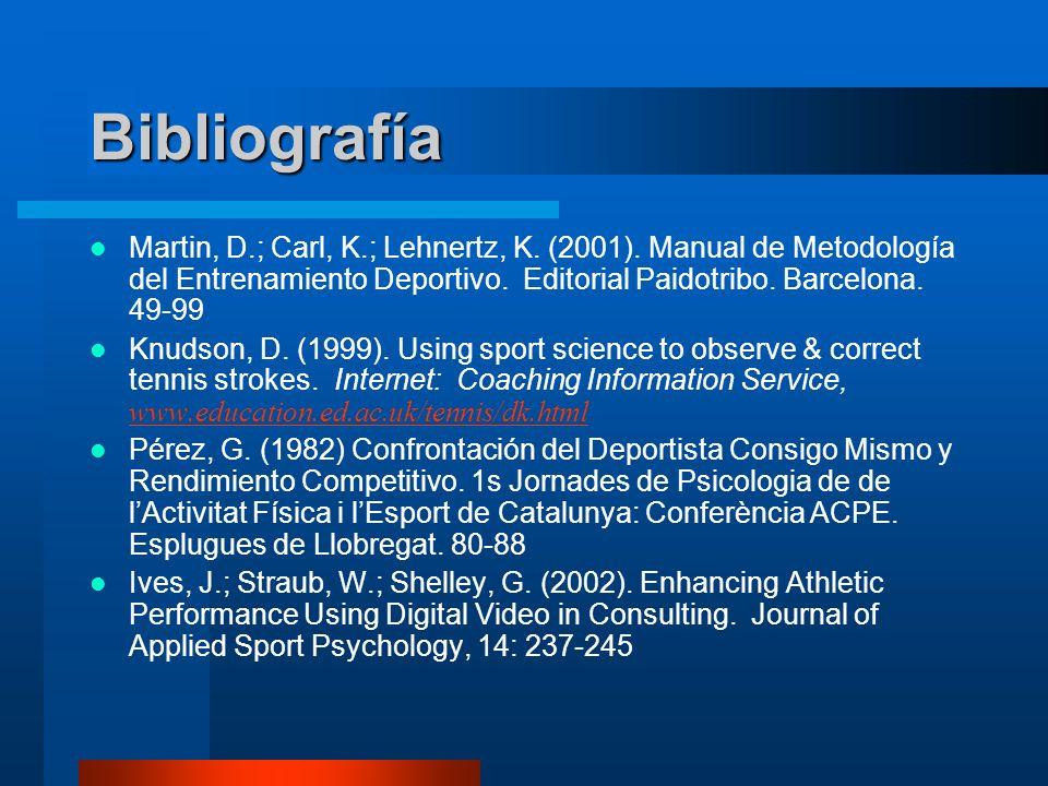Bibliografía Martin, D.; Carl, K.; Lehnertz, K. (2001). Manual de Metodología del Entrenamiento Deportivo. Editorial Paidotribo. Barcelona. 49-99 Knud