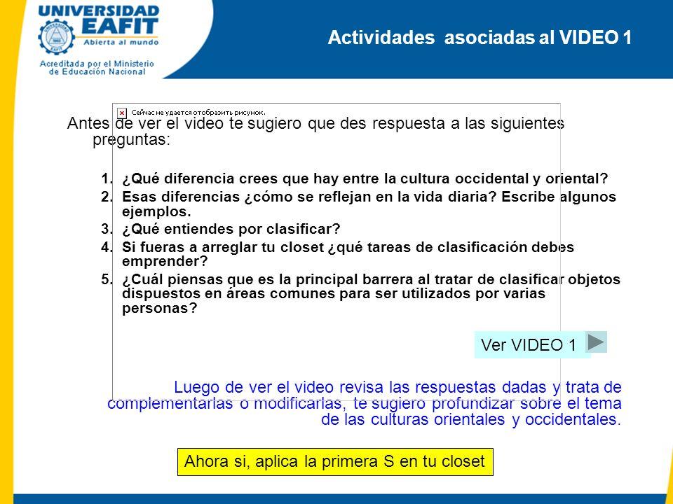 Actividades asociadas al VIDEO 1 Antes de ver el video te sugiero que des respuesta a las siguientes preguntas: 1.¿Qué diferencia crees que hay entre la cultura occidental y oriental.