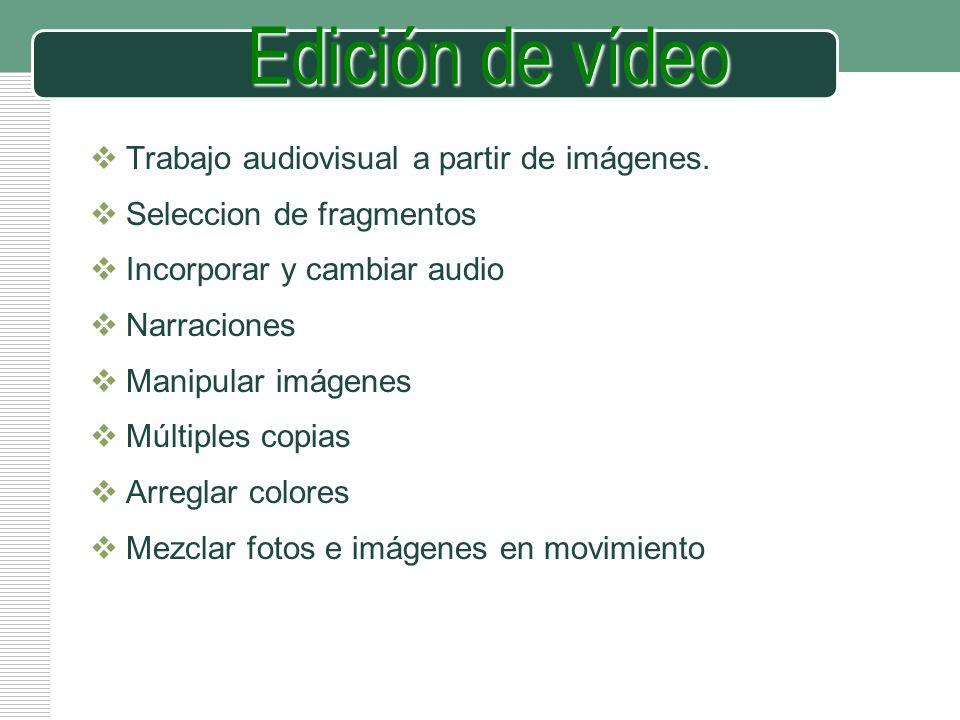 LOGO Edición de vídeo Trabajo audiovisual a partir de imágenes. Seleccion de fragmentos Incorporar y cambiar audio Narraciones Manipular imágenes Múlt