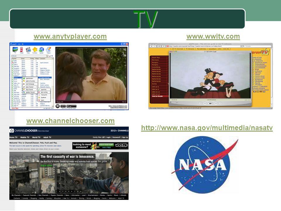 LOGO http://www.nasa.gov/multimedia/nasatvTV www.anytvplayer.comwww.wwitv.com www.channelchooser.com
