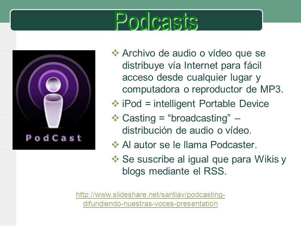 LOGO Podcasts http://www.slideshare.net/santiav/podcasting- difundiendo-nuestras-voces-presentation Archivo de audio o vídeo que se distribuye vía Int