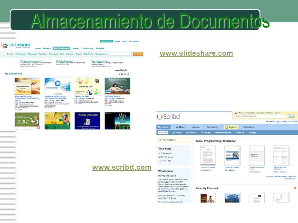 Almacenamiento de Documentos www.scribd.com www.slideshare.com