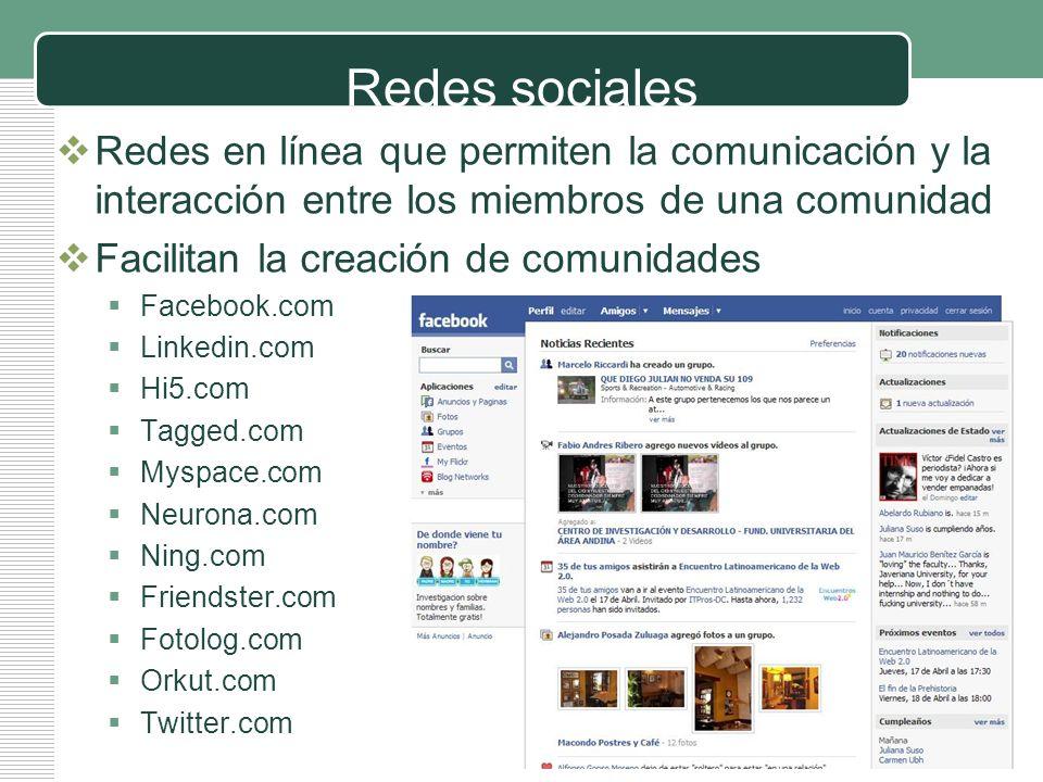 victorsolano.com Redes sociales Redes en línea que permiten la comunicación y la interacción entre los miembros de una comunidad Facilitan la creación