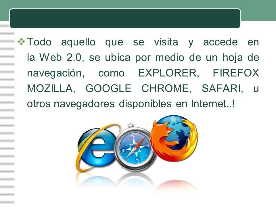 LOGO Todo aquello que se visita y accede en la Web 2.0, se ubica por medio de un hoja de navegación, como EXPLORER, FIREFOX MOZILLA, GOOGLE CHROME, SA
