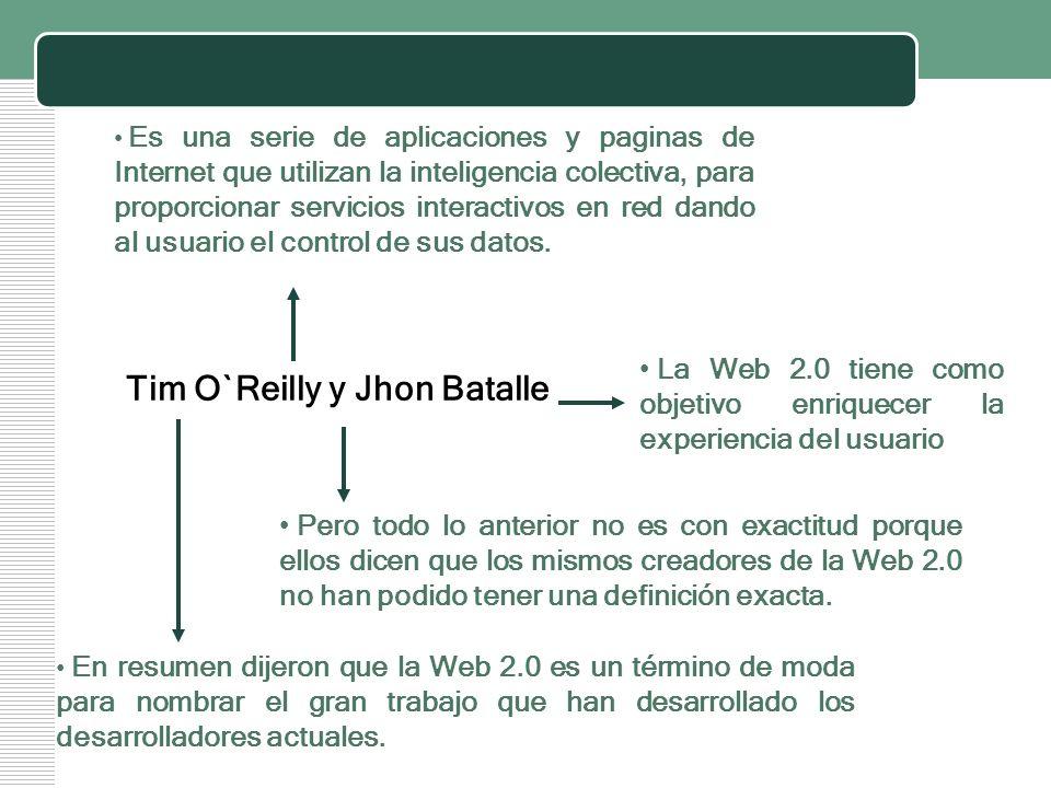 LOGO Tim O`Reilly y Jhon Batalle Es una serie de aplicaciones y paginas de Internet que utilizan la inteligencia colectiva, para proporcionar servicio