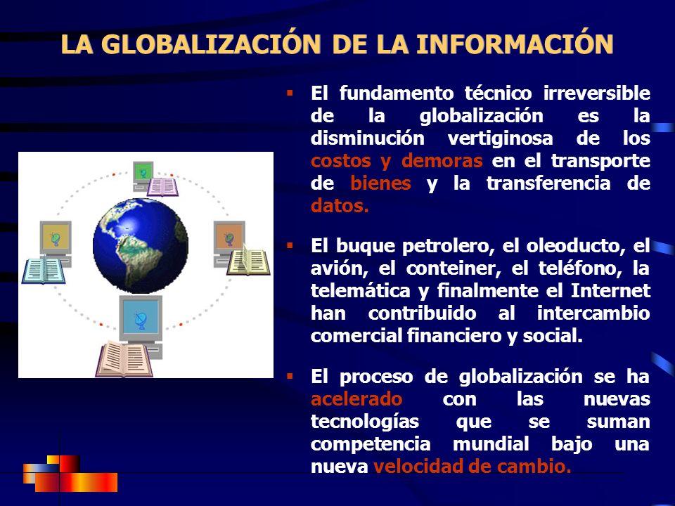 LA GLOBALIZACIÓN DE LA INFORMACIÓN El fundamento técnico irreversible de la globalización es la disminución vertiginosa de los costos y demoras en el