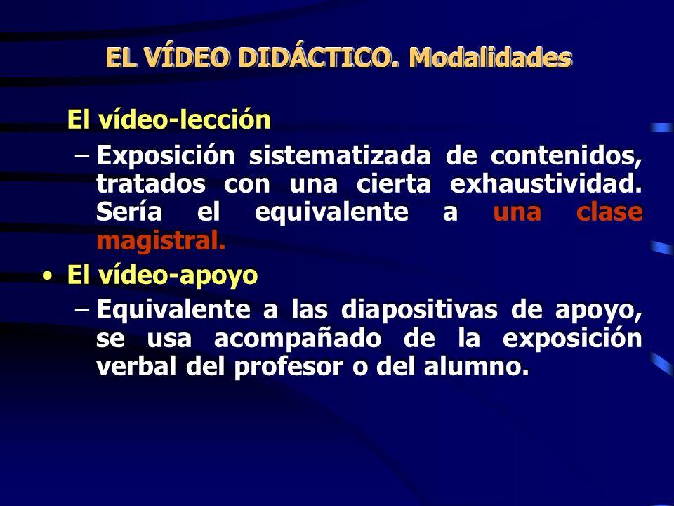 El vídeo-lección –Exposición sistematizada de contenidos, tratados con una cierta exhaustividad. Sería el equivalente a una clase magistral. El vídeo-