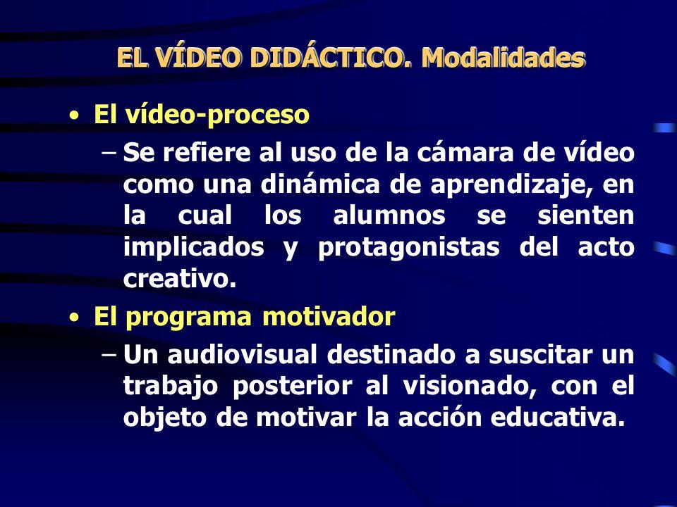 El vídeo-proceso –Se refiere al uso de la cámara de vídeo como una dinámica de aprendizaje, en la cual los alumnos se sienten implicados y protagonist