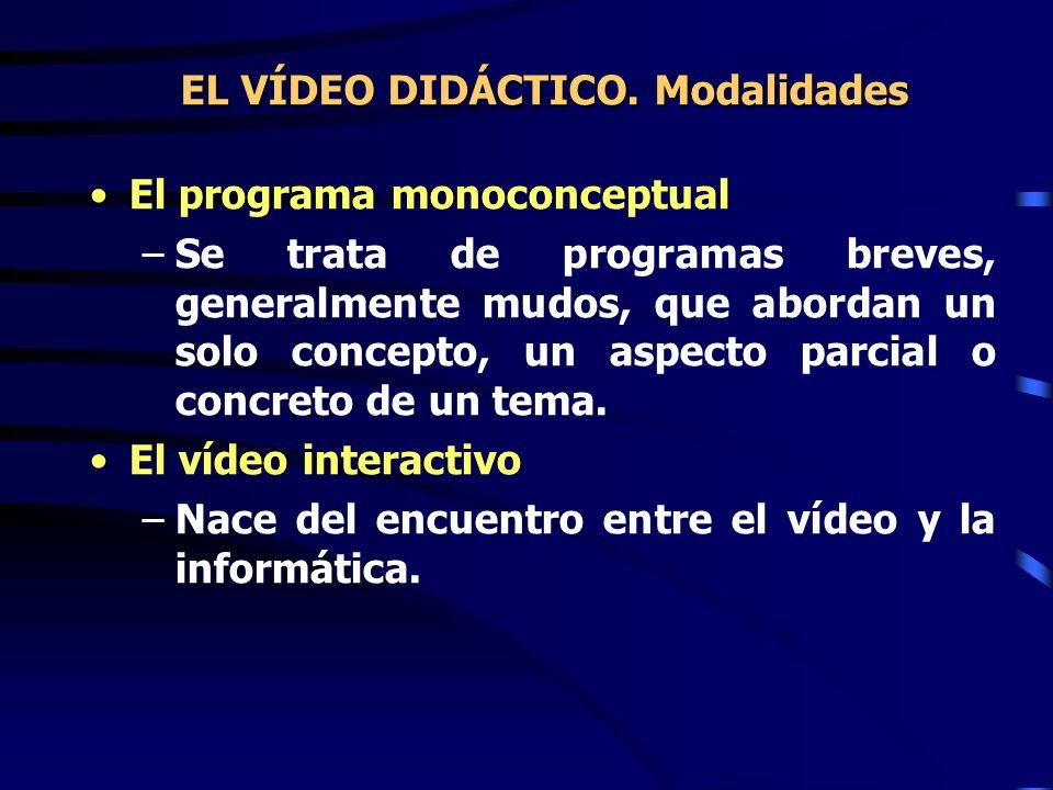 El programa monoconceptual –Se trata de programas breves, generalmente mudos, que abordan un solo concepto, un aspecto parcial o concreto de un tema.