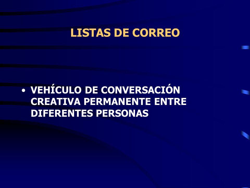 LISTAS DE CORREO VEHÍCULO DE CONVERSACIÓN CREATIVA PERMANENTE ENTRE DIFERENTES PERSONAS