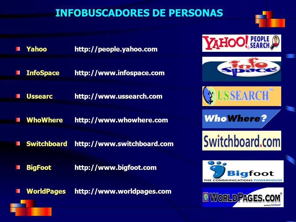 INFOBUSCADORES DE PERSONAS Yahoo http://people.yahoo.com InfoSpace http://www.infospace.com Ussearchttp://www.ussearch.com WhoWherehttp://www.whowhere