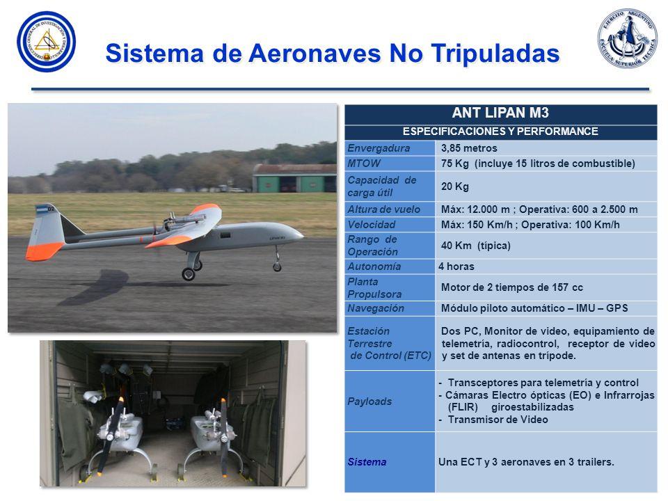 Sistema de Aeronaves No Tripuladas ANT LIPAN M3 ESPECIFICACIONES Y PERFORMANCE Envergadura 3,85 metros MTOW 75 Kg (incluye 15 litros de combustible) Capacidad de carga útil 20 Kg Altura de vuelo Máx: 12.000 m ; Operativa: 600 a 2.500 m Velocidad Máx: 150 Km/h ; Operativa: 100 Km/h Rango de Operación 40 Km (típica) Autonomía4 horas Planta Propulsora Motor de 2 tiempos de 157 cc Navegación Módulo piloto automático – IMU – GPS Estación Terrestre de Control (ETC) Dos PC, Monitor de video, equipamiento de telemetría, radiocontrol, receptor de video y set de antenas en trípode.