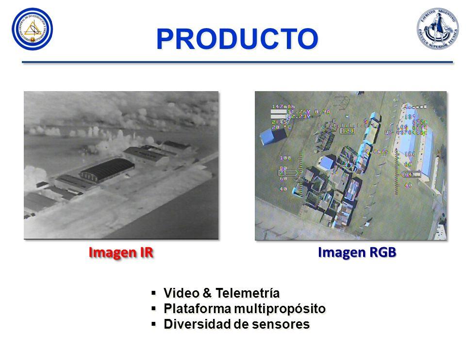 Video & Telemetría Plataforma multipropósito Diversidad de sensores Video & Telemetría Plataforma multipropósito Diversidad de sensores Imagen IR Imagen RGB PRODUCTO
