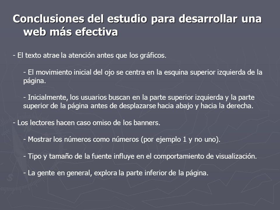 Conclusiones del estudio para desarrollar una web más efectiva - El texto atrae la atención antes que los gráficos. - El movimiento inicial del ojo se