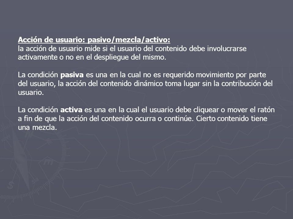 Acción de usuario: pasivo/mezcla/activo: la acción de usuario mide si el usuario del contenido debe involucrarse activamente o no en el despliegue del