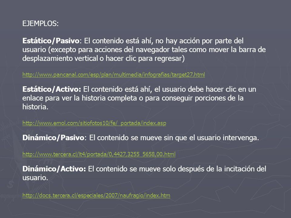 EJEMPLOS: Estático/Pasivo: El contenido está ahí, no hay acción por parte del usuario (excepto para acciones del navegador tales como mover la barra d