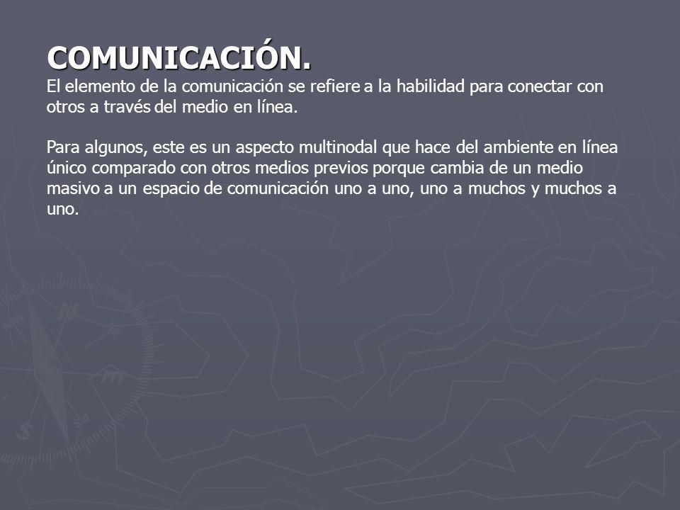 COMUNICACIÓN. El elemento de la comunicación se refiere a la habilidad para conectar con otros a través del medio en línea. Para algunos, este es un a