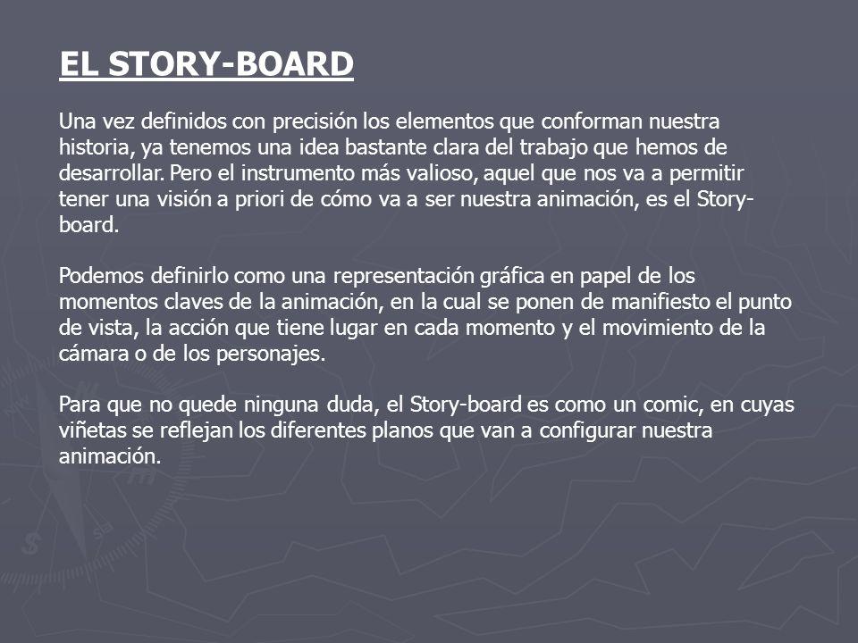 EL STORY-BOARD Una vez definidos con precisión los elementos que conforman nuestra historia, ya tenemos una idea bastante clara del trabajo que hemos