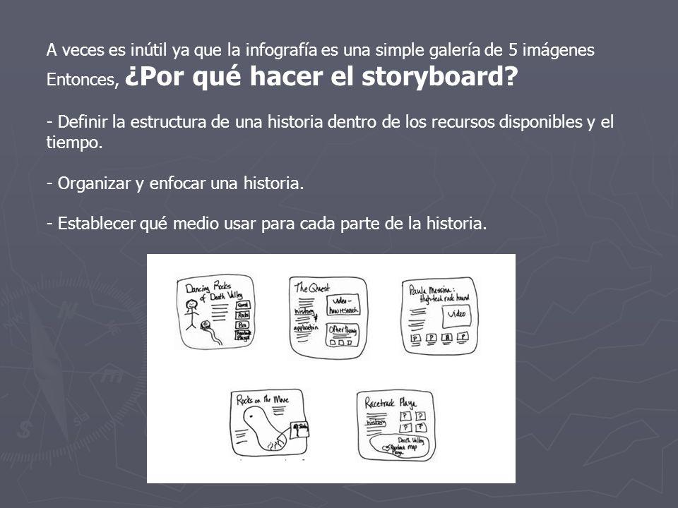 A veces es inútil ya que la infografía es una simple galería de 5 imágenes Entonces, ¿Por qué hacer el storyboard? - Definir la estructura de una hist