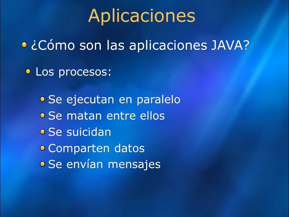 Los procesos: Se ejecutan en paralelo Se matan entre ellos Se suicidan Comparten datos Se envían mensajes Los procesos: Se ejecutan en paralelo Se matan entre ellos Se suicidan Comparten datos Se envían mensajes Aplicaciones ¿Cómo son las aplicaciones JAVA?
