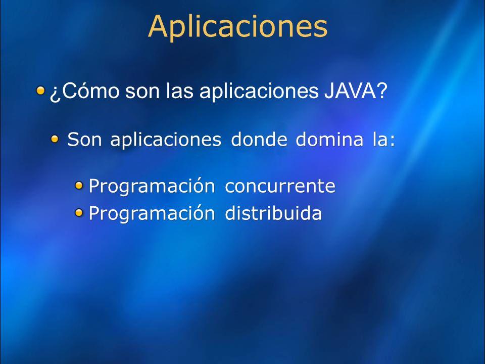 Aplicaciones Son aplicaciones donde domina la: Programación concurrente Programación distribuida Son aplicaciones donde domina la: Programación concurrente Programación distribuida ¿Cómo son las aplicaciones JAVA?