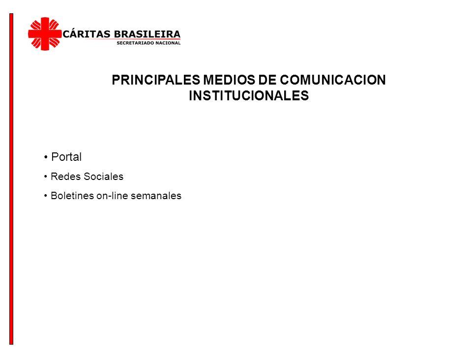 PRINCIPALES MEDIOS DE COMUNICACION INSTITUCIONALES Portal Redes Sociales Boletines on-line semanales