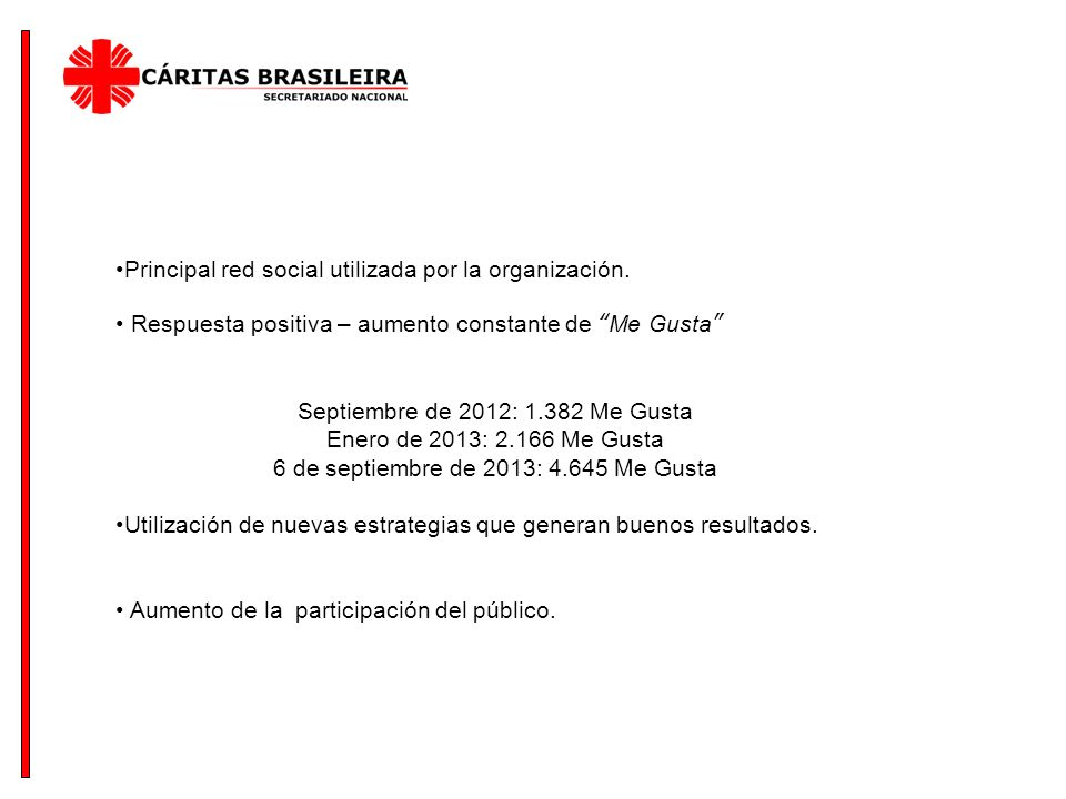 Principal red social utilizada por la organización.