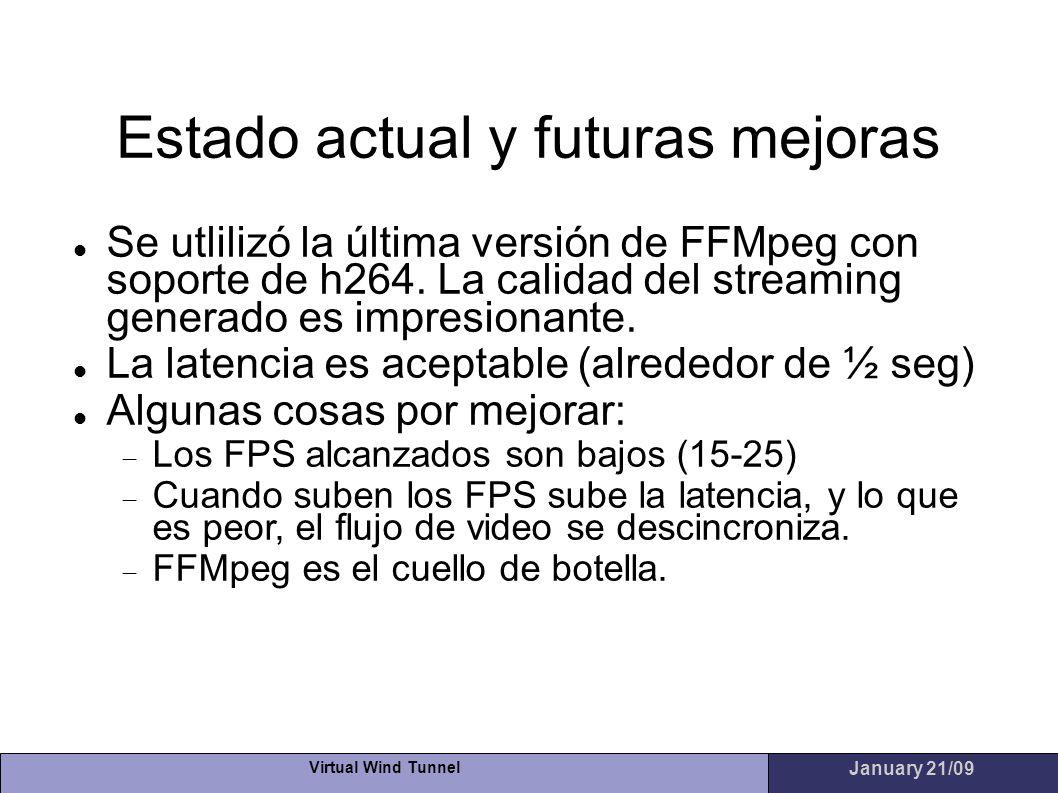 Virtual Wind Tunnel January 21/09 Estado actual y futuras mejoras Se utlilizó la última versión de FFMpeg con soporte de h264. La calidad del streamin