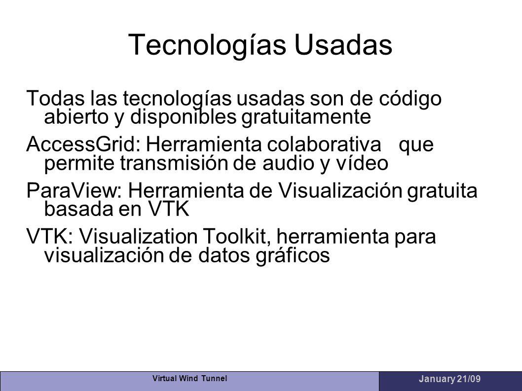 Virtual Wind Tunnel January 21/09 Tecnologías Usadas Todas las tecnologías usadas son de código abierto y disponibles gratuitamente AccessGrid: Herram