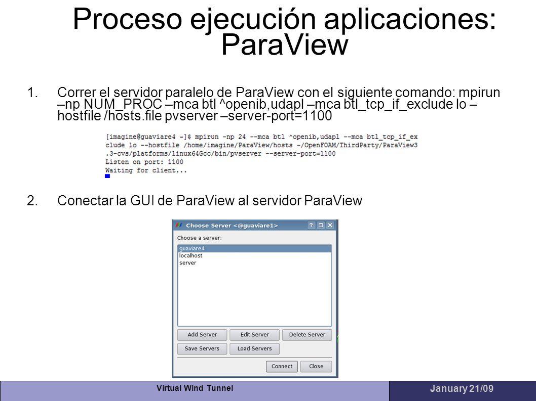 Virtual Wind Tunnel January 21/09 Proceso ejecución aplicaciones: ParaView 1.Correr el servidor paralelo de ParaView con el siguiente comando: mpirun