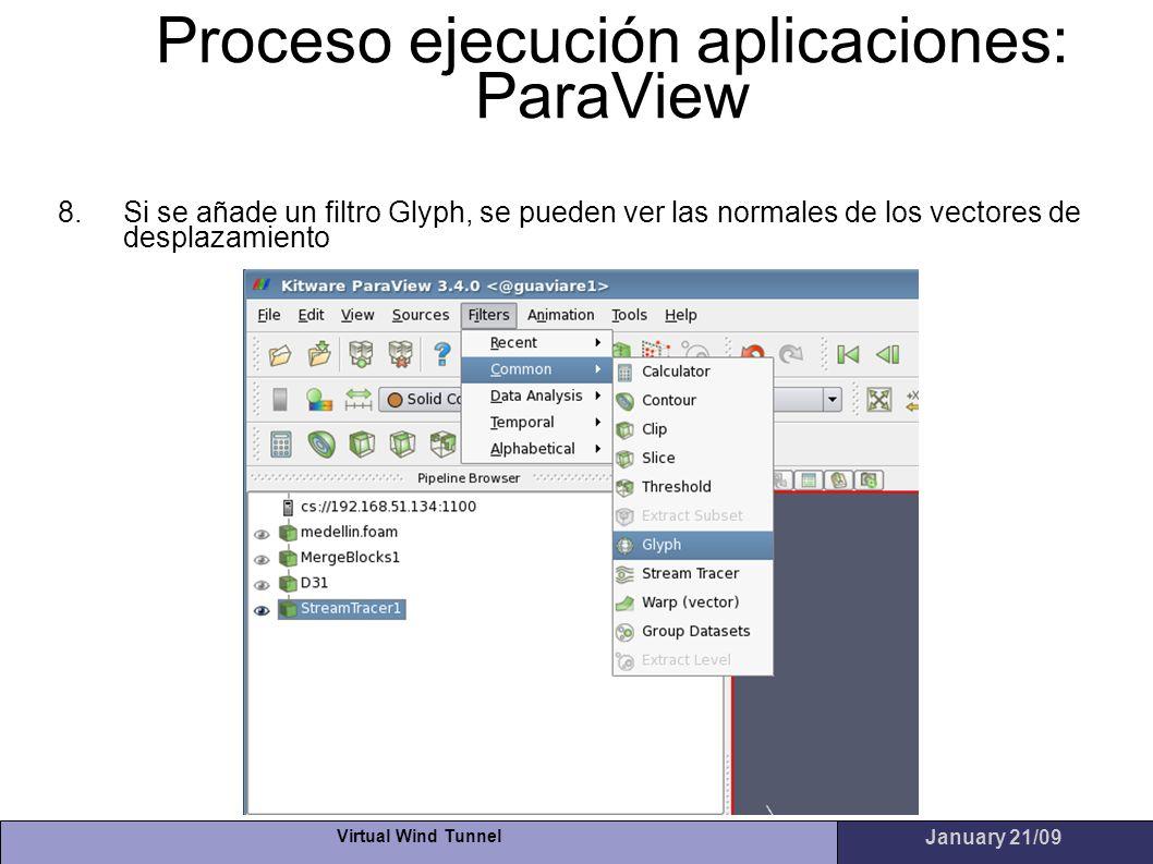 Virtual Wind Tunnel January 21/09 Proceso ejecución aplicaciones: ParaView 8.Si se añade un filtro Glyph, se pueden ver las normales de los vectores d
