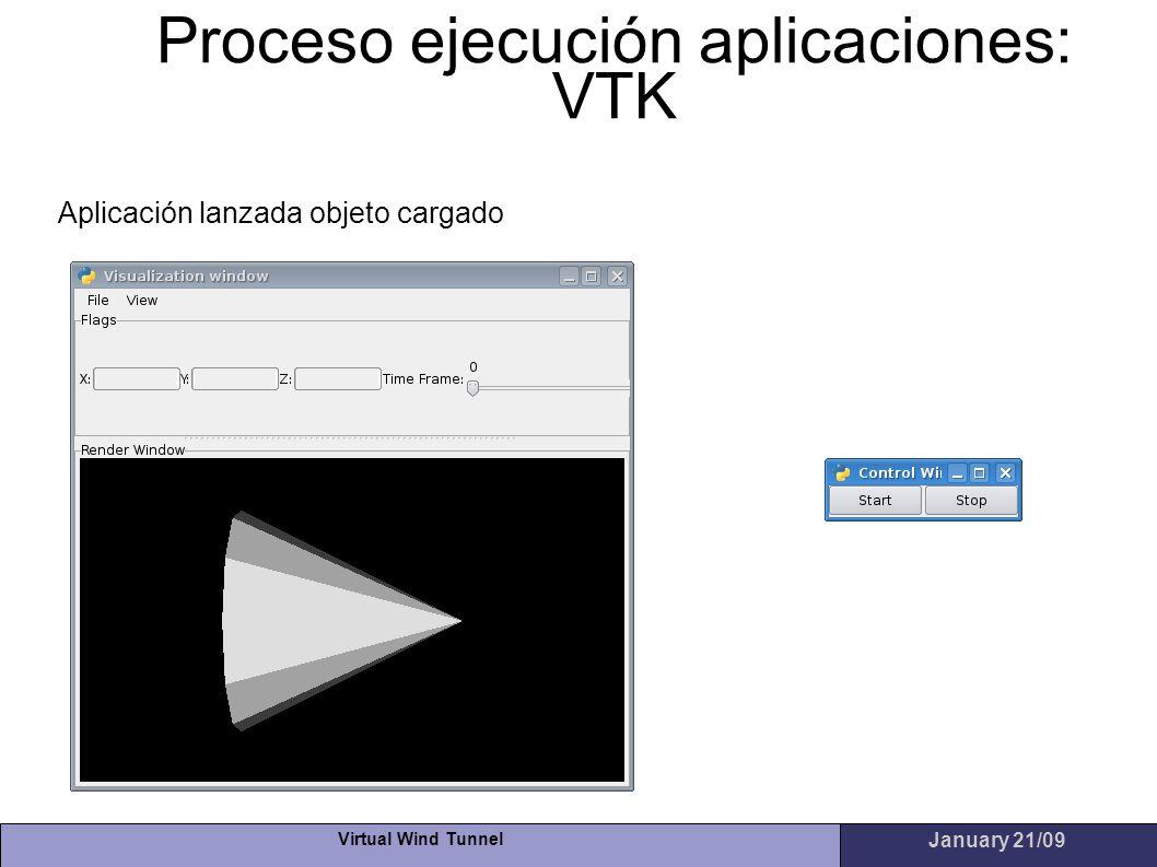 Virtual Wind Tunnel January 21/09 Proceso ejecución aplicaciones: VTK Aplicación lanzada objeto cargado