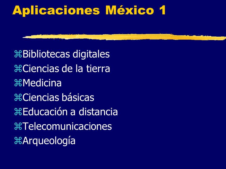 Aplicaciones México 1 zBibliotecas digitales zCiencias de la tierra zMedicina zCiencias básicas zEducación a distancia zTelecomunicaciones zArqueología