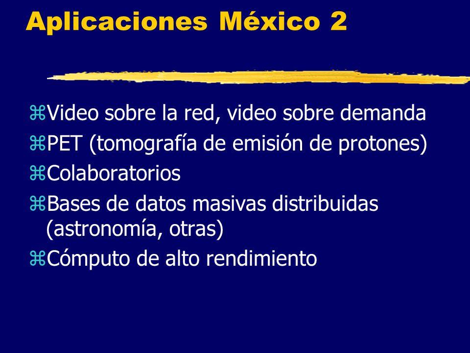 Aplicaciones México 2 zVideo sobre la red, video sobre demanda zPET (tomografía de emisión de protones) zColaboratorios zBases de datos masivas distribuidas (astronomía, otras) zCómputo de alto rendimiento