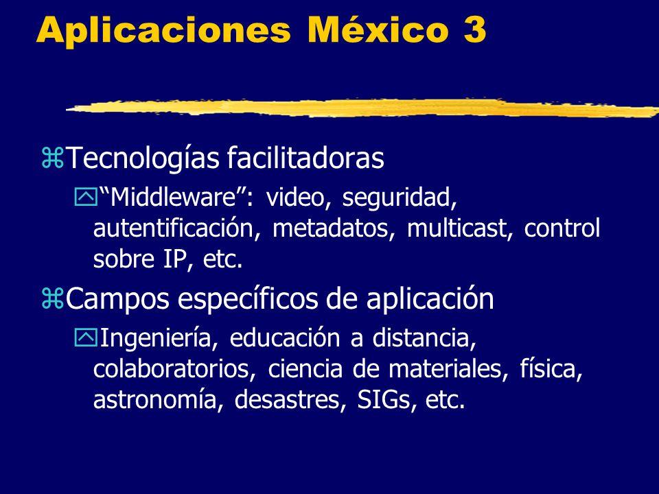 Aplicaciones México 3 zTecnologías facilitadoras yMiddleware: video, seguridad, autentificación, metadatos, multicast, control sobre IP, etc.