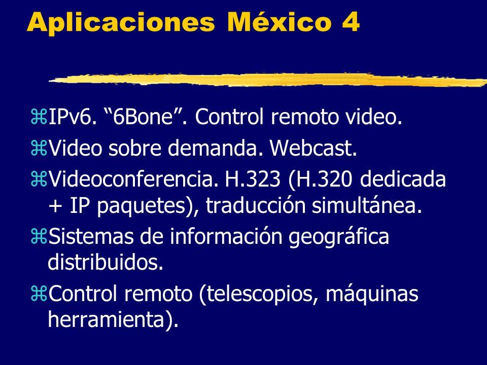 Aplicaciones México 4 zIPv6. 6Bone. Control remoto video.
