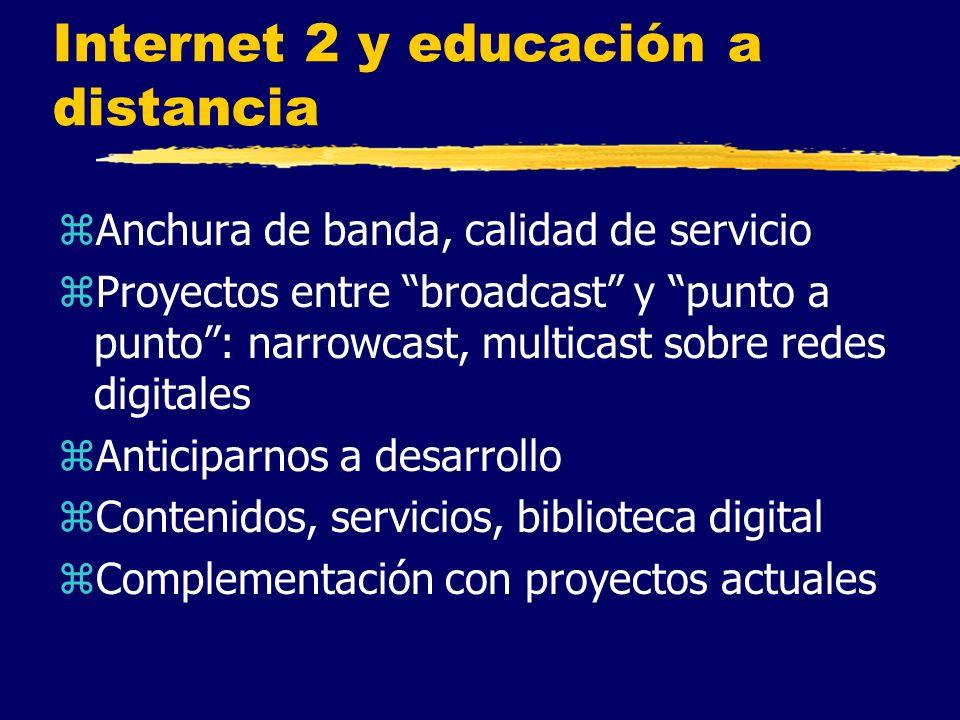 Internet 2 y educación a distancia zAnchura de banda, calidad de servicio zProyectos entre broadcast y punto a punto: narrowcast, multicast sobre redes digitales zAnticiparnos a desarrollo zContenidos, servicios, biblioteca digital zComplementación con proyectos actuales