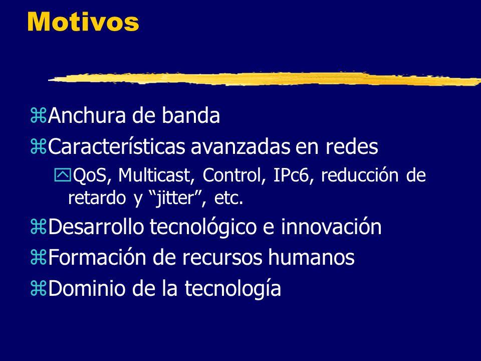 Motivos zAnchura de banda zCaracterísticas avanzadas en redes yQoS, Multicast, Control, IPc6, reducción de retardo y jitter, etc.