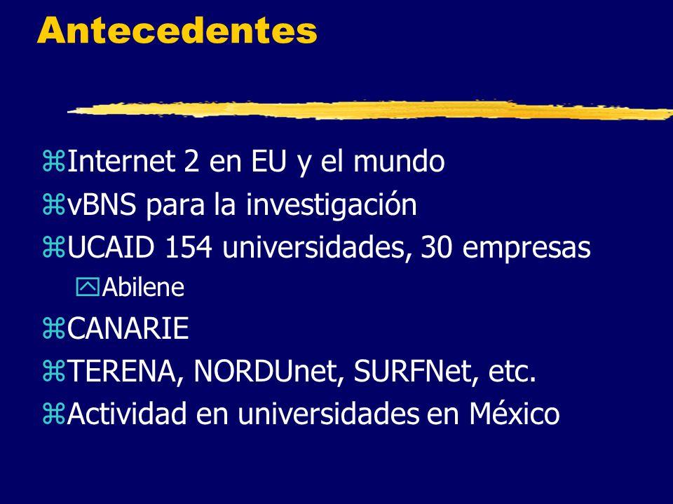 Antecedentes zInternet 2 en EU y el mundo zvBNS para la investigación zUCAID 154 universidades, 30 empresas yAbilene zCANARIE zTERENA, NORDUnet, SURFNet, etc.