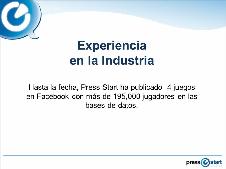 Experiencia en la Industria Hasta la fecha, Press Start ha publicado 4 juegos en Facebook con más de 195,000 jugadores en las bases de datos.