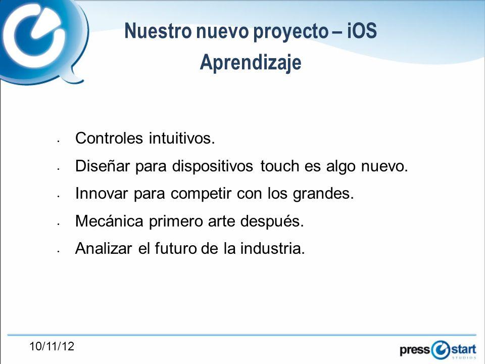 10/11/12 Nuestro nuevo proyecto – iOS Aprendizaje Controles intuitivos.