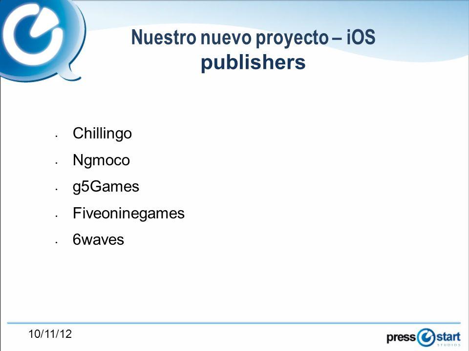 10/11/12 Nuestro nuevo proyecto – iOS publishers Chillingo Ngmoco g5Games Fiveoninegames 6waves