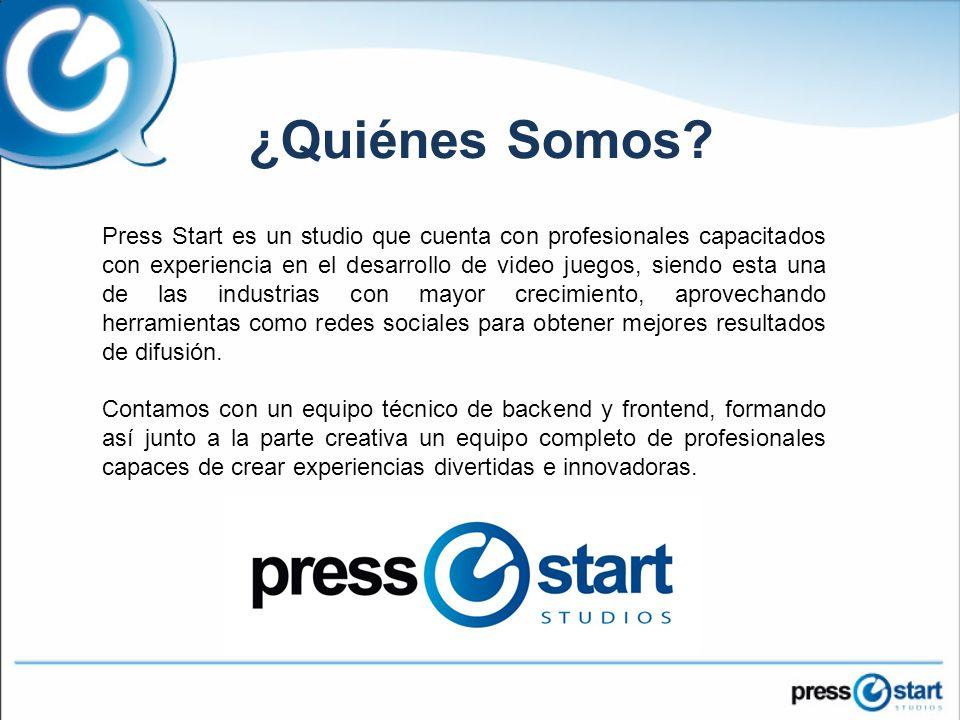 Press Start es un studio que cuenta con profesionales capacitados con experiencia en el desarrollo de video juegos, siendo esta una de las industrias con mayor crecimiento, aprovechando herramientas como redes sociales para obtener mejores resultados de difusión.