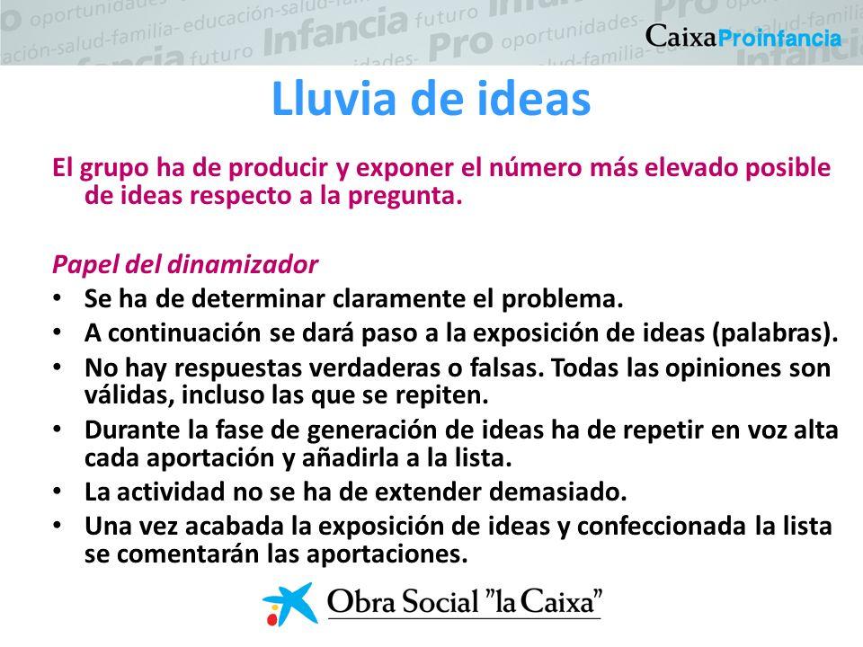 Lluvia de ideas El grupo ha de producir y exponer el número más elevado posible de ideas respecto a la pregunta.