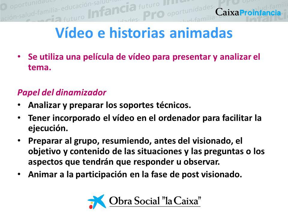 Vídeo e historias animadas Se utiliza una película de vídeo para presentar y analizar el tema.