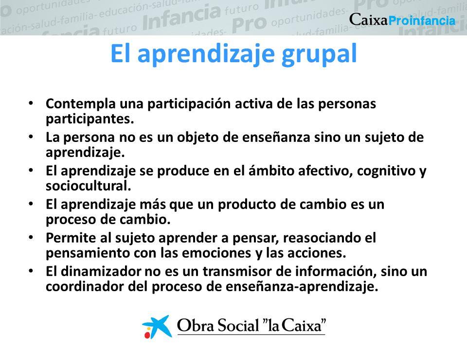 El aprendizaje grupal Contempla una participación activa de las personas participantes.