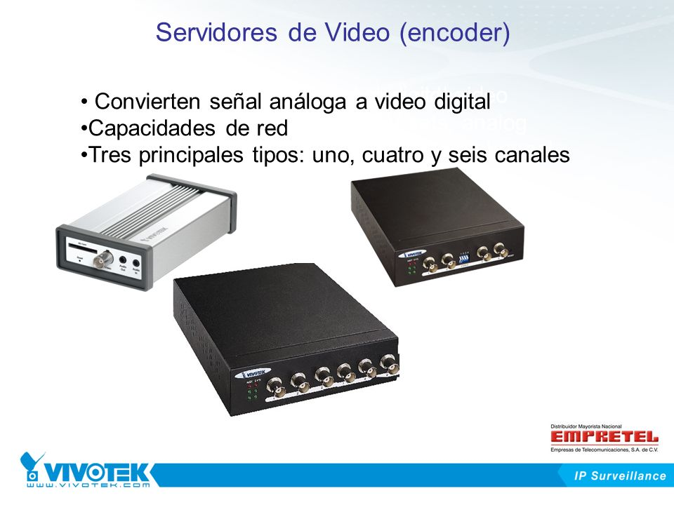 Servidores de Video (encoder) Converting analog signal to digital video Networking capability Three main types: one-, four- or six -channel 1 Channel4 Channels 6 Channels Converting digital signal to analog video It can be connected to regular TV sets, analog monitors Convierten señal análoga a video digital Capacidades de red Tres principales tipos: uno, cuatro y seis canales